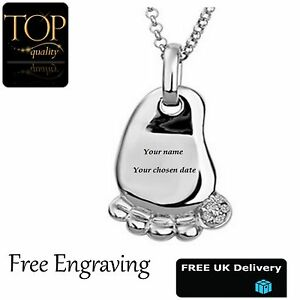 0ee11c3c1f851 Details about Womens Baby Foot Pendant Personalised Engraved Name Necklace  Element Gift UK