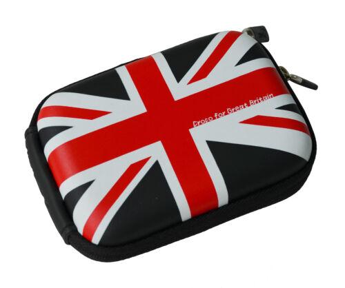 Croco ® Negro Union Jack Bandera Med duro caso para Fuji FinePix F600EXR F900EXR