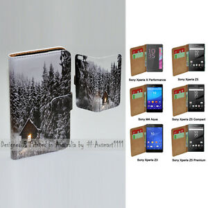 For Sony Xperia Series - Snow Forest Theme Print Wallet Mobile Phone Case Cover