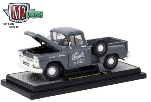 1:24 M2 Machines AUTO-TRUCKS R55 = GREY 1958 Chevrolet APACHE Stepside *NIB*