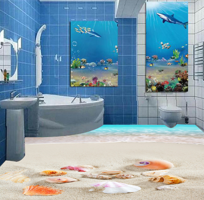 3D Art Beach Shells 8 Floor WallPaper Murals Wall Print 5D AJ WALLPAPER UK Lemon