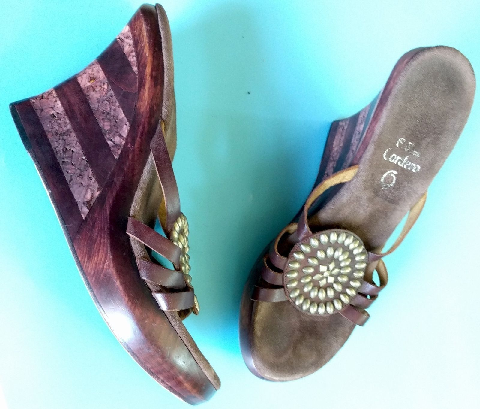 CALLEEN CORDERO 9.5M Wedges Embellished Studded Leder Sandales Wood Schuhes