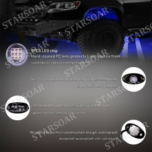 Blue LED 6 Pods Rock Lights For Jeep Offroad Truck UTV Underbody Crawling Light