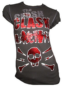 Rara G The Clash Strass Stampa Amplified Rock Teschio Vip shirt Vintage T Star r75rq