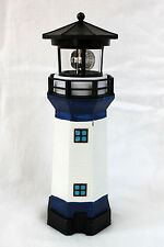 Solar Leuchtturm blau-weiss rotierendes LED-Licht 28 cm