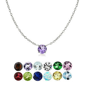 Sterling Silver Small Dainty Round Gemstone Birthstone Choker Necklace