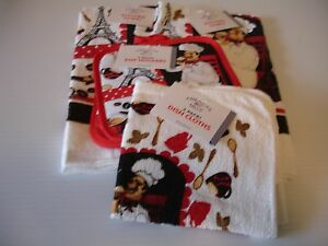 Details about New! French Chef Kitchen Towels Dish Hand Tea Dishcloths  Potholders Set