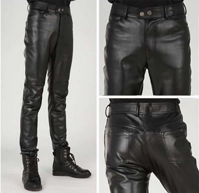 Mens Punk Motorcycle Black faux Leather Skinny Pants Slim Fit Pencil Trousers