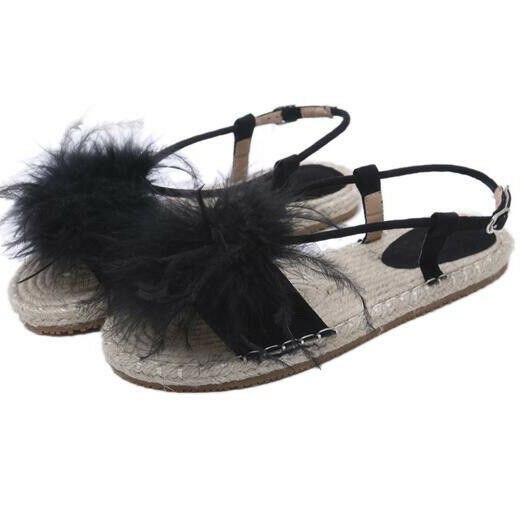 Sandali  eleganti bassi comodi corda noir  ciabatte simil pelle eleganti CW850