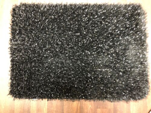 NEW SPARKLY GLITTER DOORMAT 50CMX80CM BLACK GREAT QUALITY NON SLIP WASHABLE RUG
