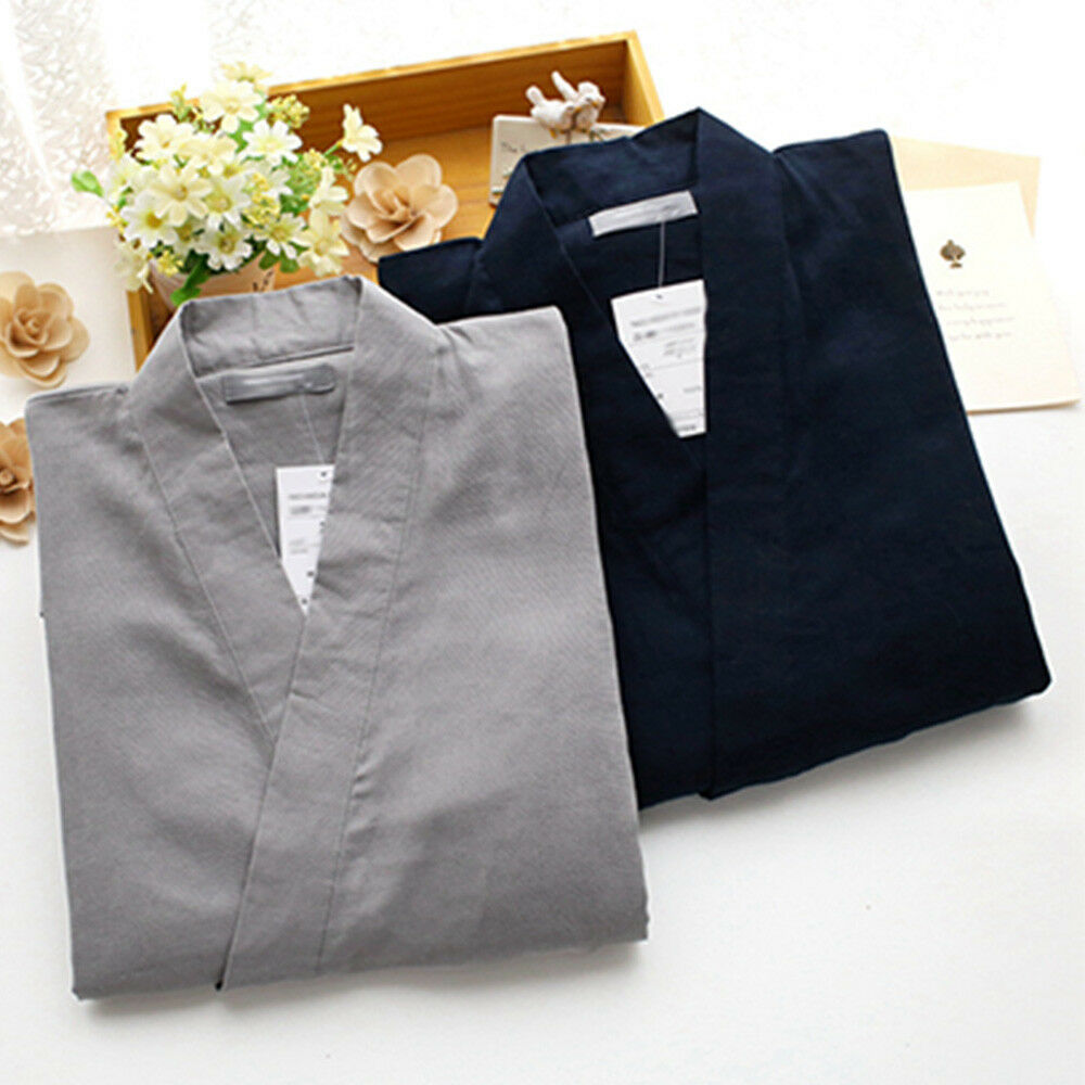 04a4cda36a Men Japanese Kimono Short Sleeve Yukata Bathrobe Cotton Gown Sleepwear  Pajama