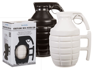 Grenade Mug With Lid Hand Stoneware Army Military Gift