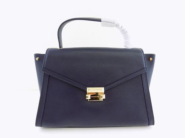 47a904265826 Michael Kors Whitney Large Top Handle Navy Leather Satchel Handbag ...