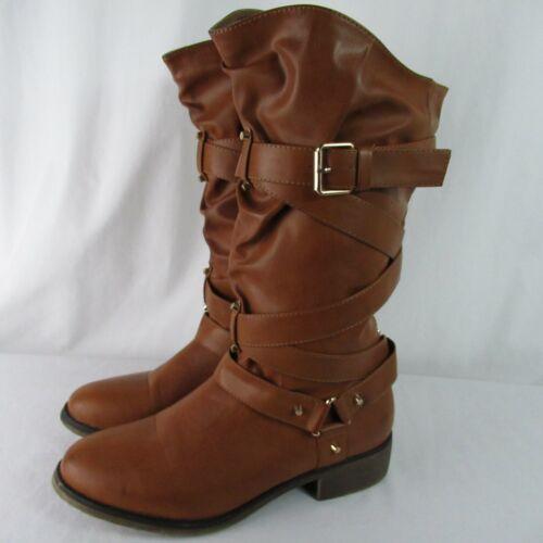Shoe Dazzle 10 Aresa Brown Boots Low Heel Equestri