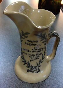 ANTIQUE-STONEWARE-FABULOUS-ROYAL-DOULTON-JUG-WATER-PICTURE-OLD-QUOTES