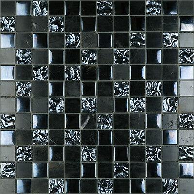 CMX Series Black Marble & Bubble Glass Black Mosaic Tile Sheet 305x305x8mm