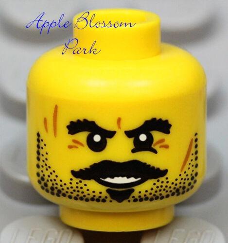 NEW Lego Pirate MINIFIG HEAD w//Black Beard /& Moustache Kingdoms//Castle//Cow Boy
