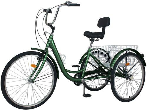 """7Speed Tricycle 3Wheel Trike Cruiser Bicycle 20//26//24/"""" wheel Sport Bike Basket"""