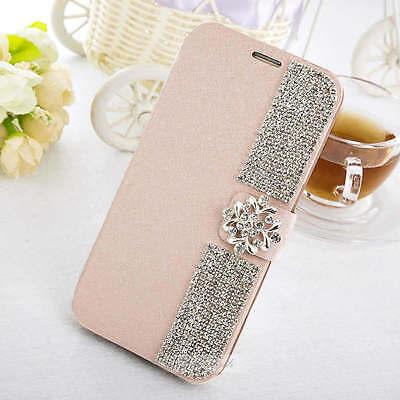 Elegant Bling Handmade Crystal Flip Stand Wallet Case Cover For Samsung Phone