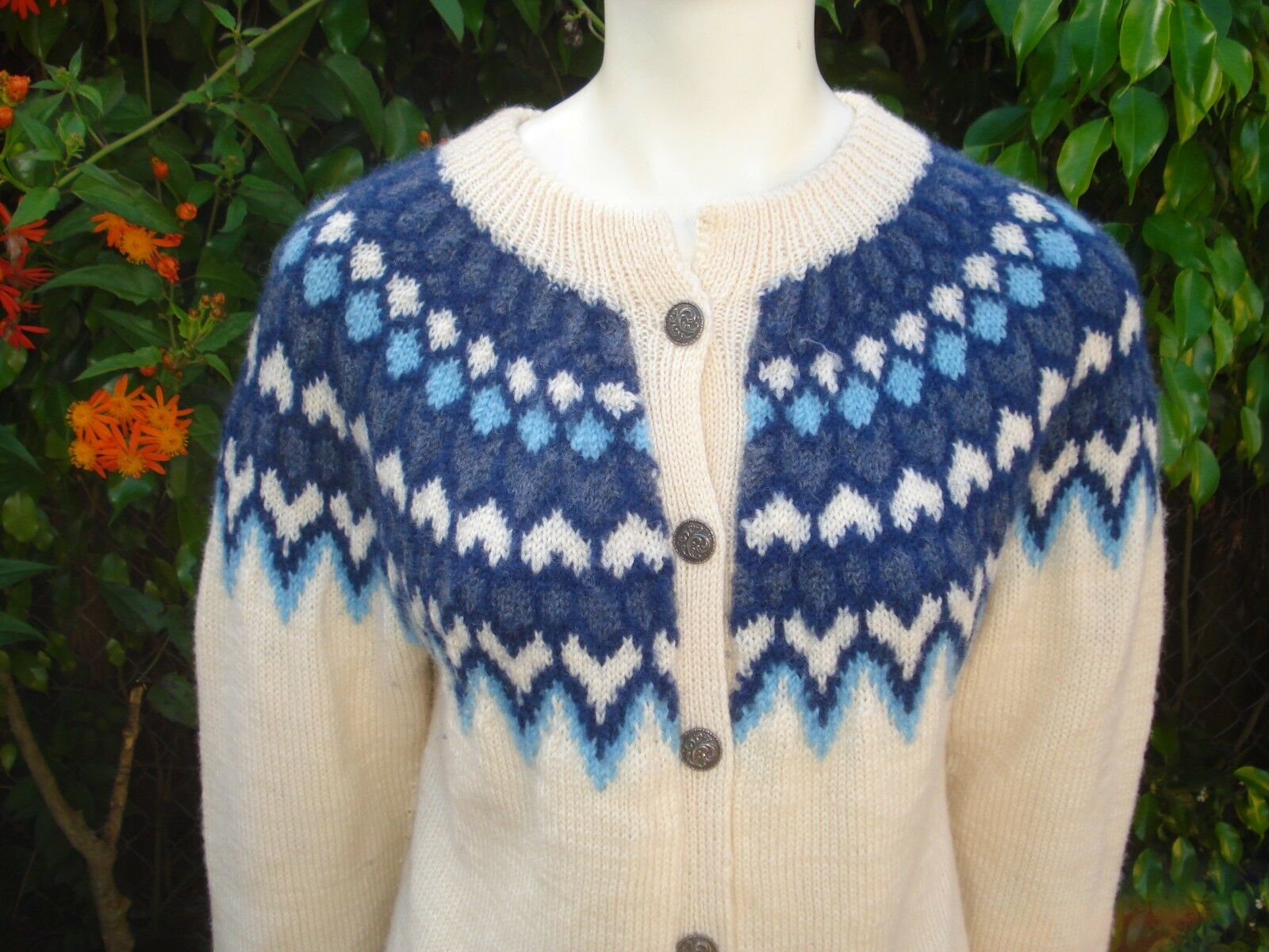 DALE OF NORWAY MULTI COLOR WOOL KNIT CARDIGAN SWEATER Sz 44