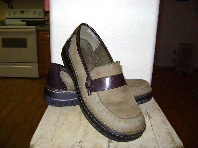 NATURAL SOUL Olive Green Leder BROWN Slip On Loafer Schuhe 10