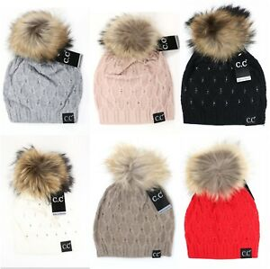 CC Beanie Black Label Super Premium Fashion Crystal Raccoon Real Fur Pom Hat Cap