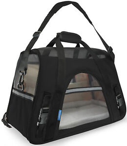 Pet-Carrier-Soft-Sided-Small-Cat-Dog-Comfort-Black-Travel-Bag-Airline-Approved