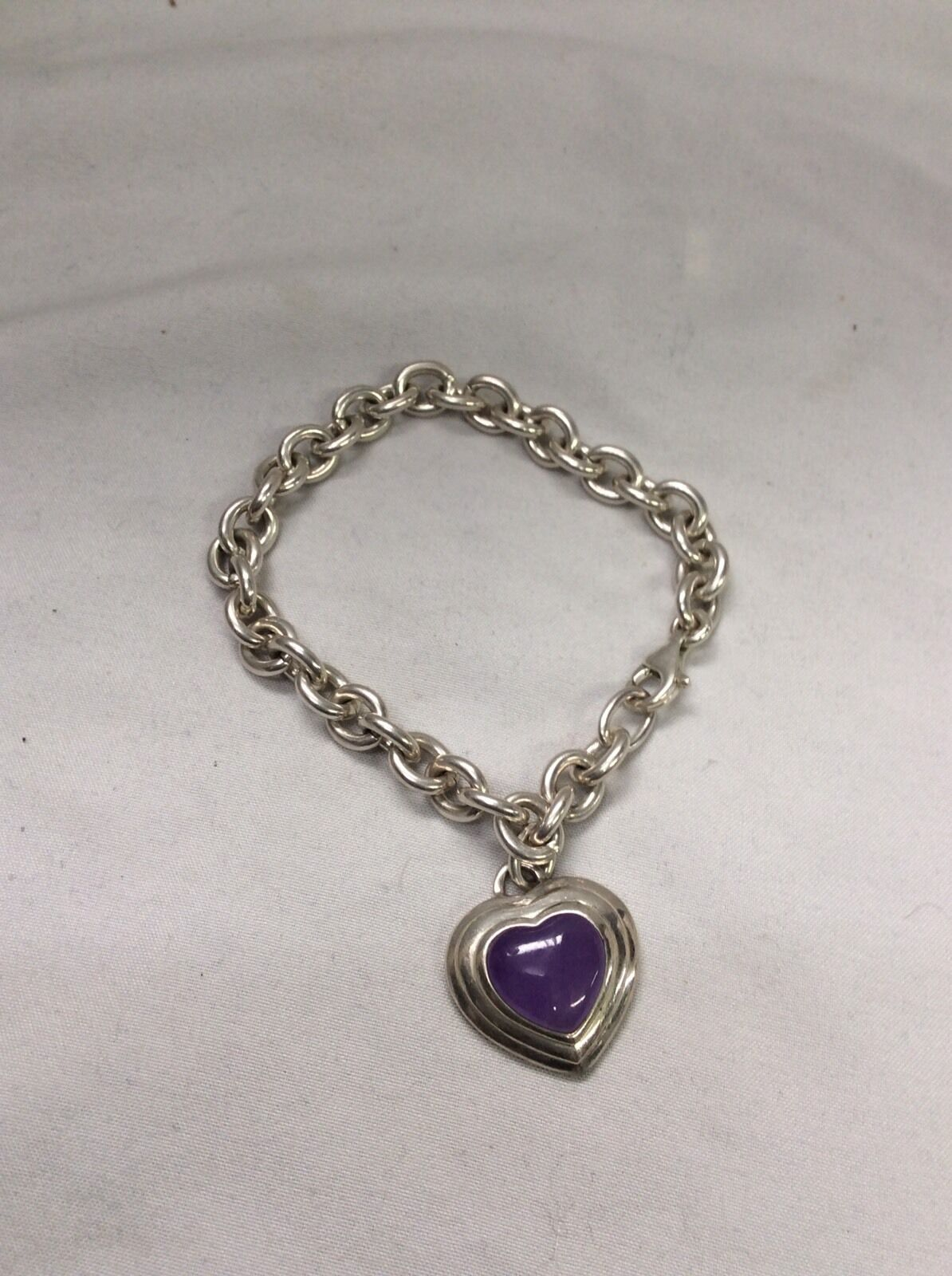 Beautiful CNA Thailand   Sterling 925 Heart Purple Stone Charm Bracelet