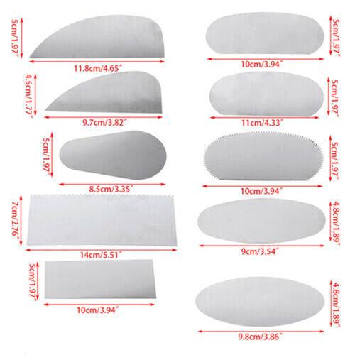 10X Pottery Clay Steel Scraper For Polymer Steel Cutter Ceramic Serrated Tool JO