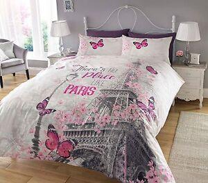 Nueva-Funda-nordica-Paris-Romance-amp-Funda-De-Almohada-Juego-De-Cama-Individual-Doble-King-mas