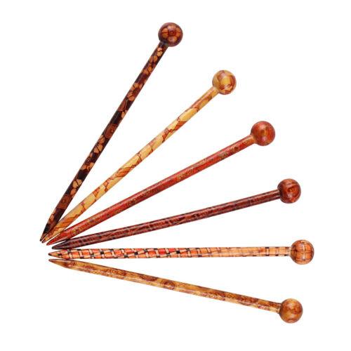 6 Stücke Haarstab Holz Haarnadel Haarspange Haarstift Elegantes Haarschmuck 13cm