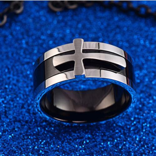 8mm Cross Band Three in One Men/'s Jewellery Titanium Steel Church Band Size 7-13