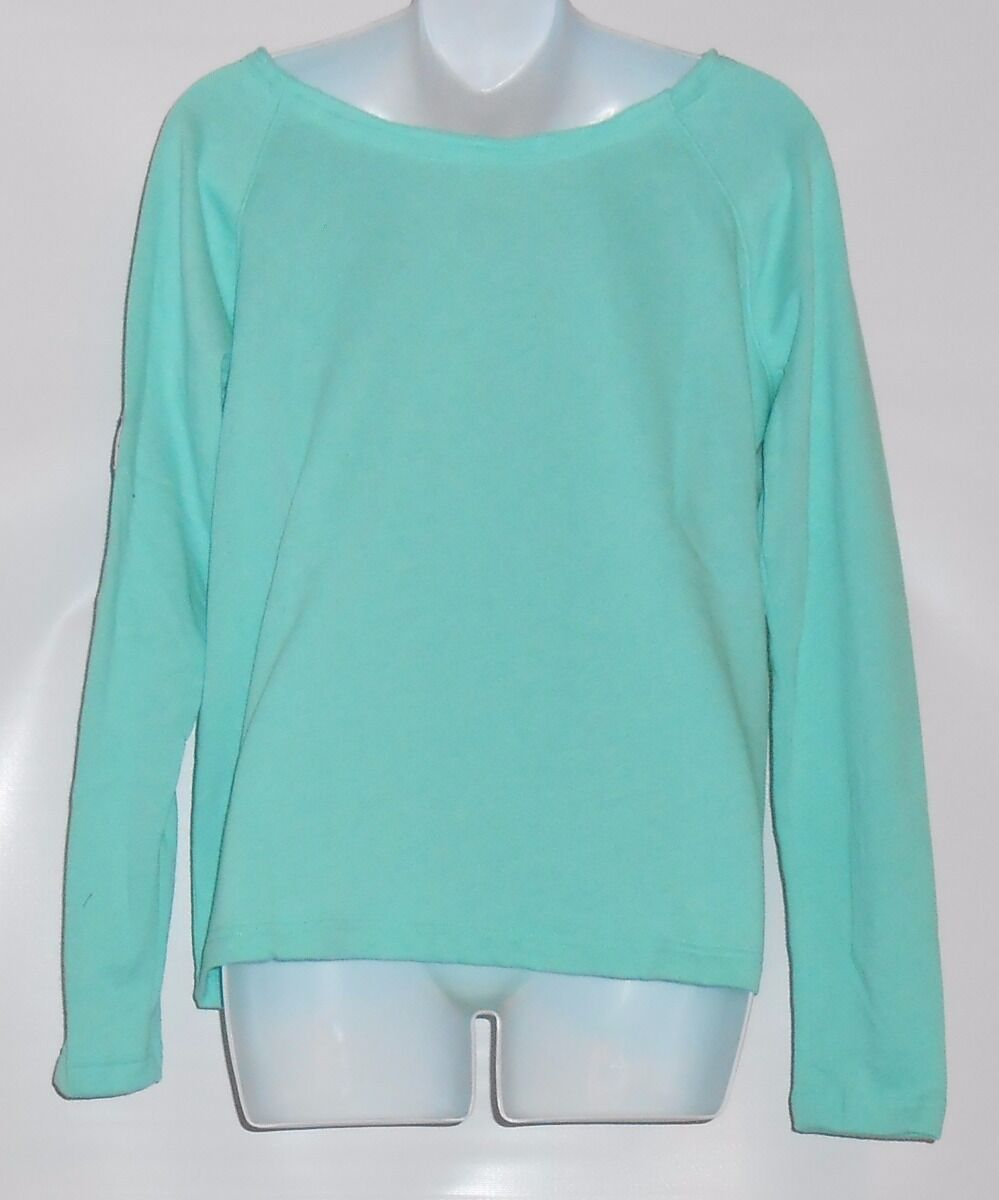 Victoria's Secret Pink Pink Pink Long Sleeve Slouchy Off-The-Shoulder Crew Seafoam Glow XS 80e564