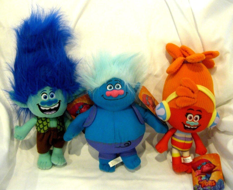 Dreamworks Trolls 10 -14  Branch bluee Hair,Biggie, and DJ Suki 3 Piece Set-New