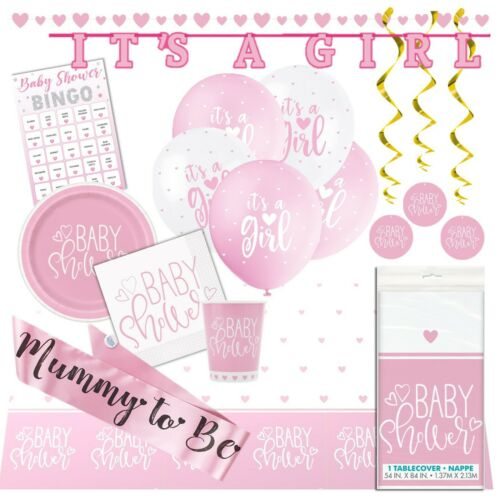 Bingo,Tableware,Decorations Girl PINK HEARTS Ultimate Baby Shower Party Pack