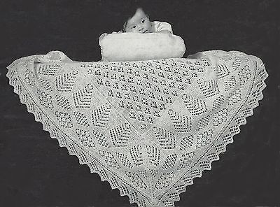 "Baby Shetland Shawl Vintage Heirloom Knitting Pattern 2ply 47x47/"" 910"