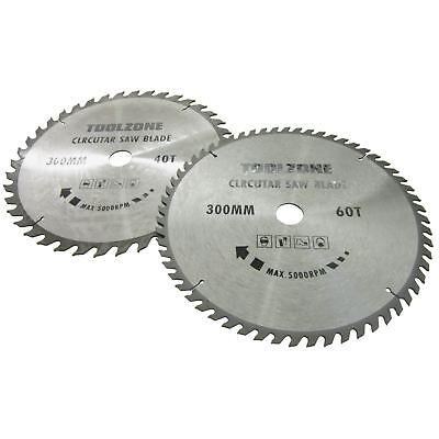 2pc 250mm TCT Lames de scie circulaire 40 et 60 dents avec bagues Adaptateur TE