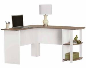 Details about White L-Shaped Corner Desk Workstation Desks Home Office  Furniture Kids Dorm NEW