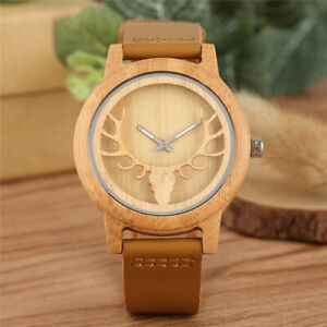 Men-039-s-Wood-Watch-Hollow-Elk-Natural-Wooden-Quartz-Wristwatch-Leather-Bracelet