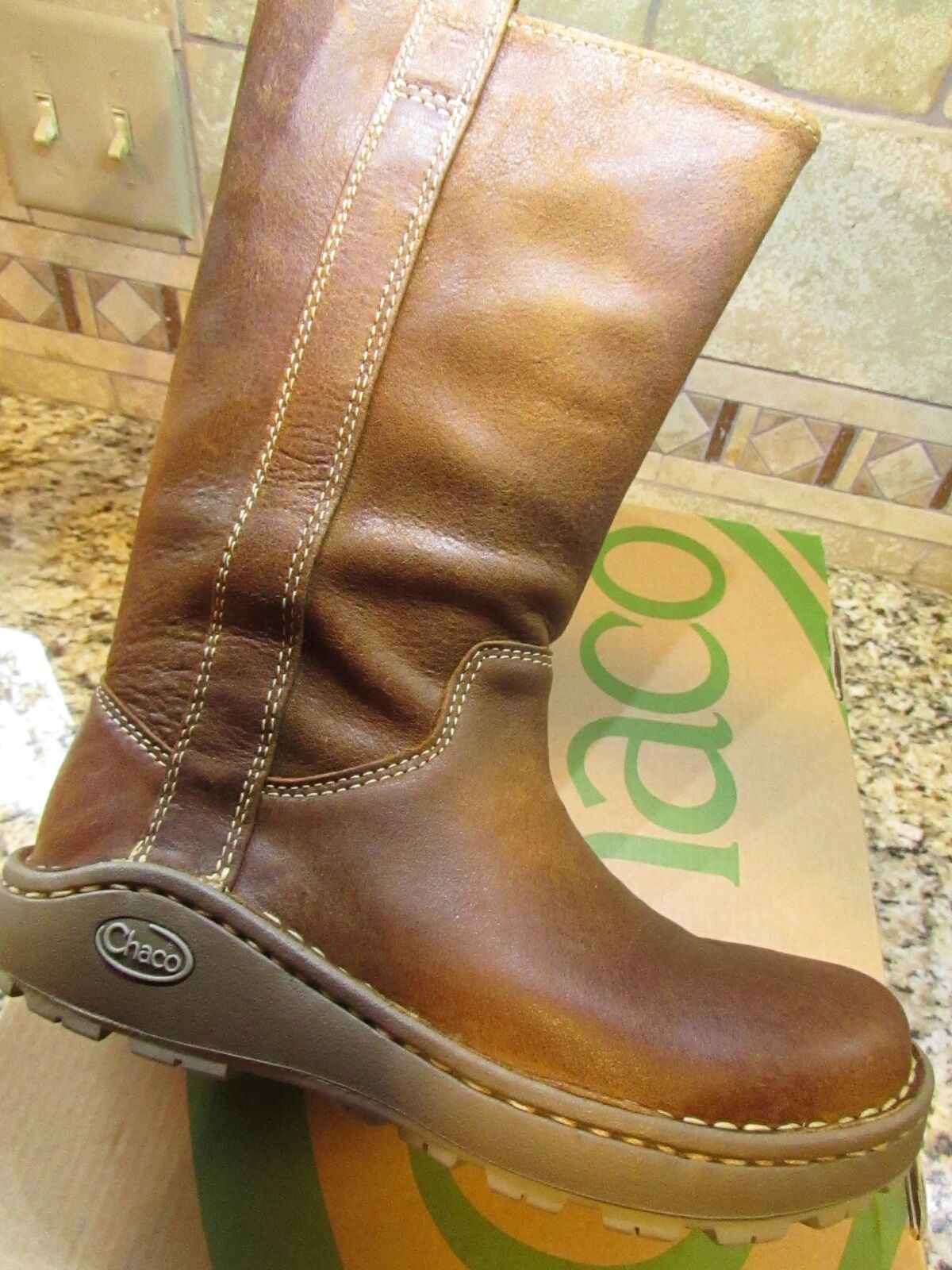 NEW CHACO CREDENCE WATERPROOF LEATHER TALL BOOTS BOOTS BOOTS WOMENS 6 COGNAC  FREE SHIP 7ac65e