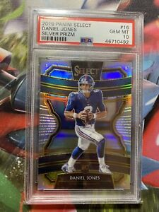 2019-Panini-Select-Concourse-Silver-Prizm-Daniel-Jones-16-PSA-10-Rookie-GEM-MT