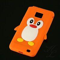 Samsung Galaxy S2 i9100 Silikon Case Schutz Hülle Etui Cover Pinguin Orange