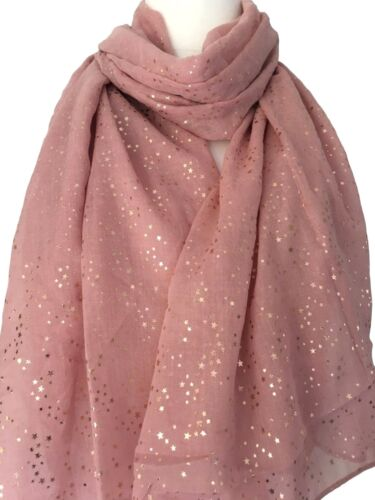 Pink Stars scarf Gold Tone Sparkly FOIL STAR Châle Ladies Womens Large Wrap New