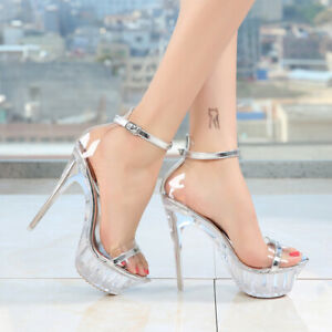 Womens-Sexy-Super-High-Heels-Ankle-Strap-Peep-Toe-Clear-Platform-Shoes-Nightclub