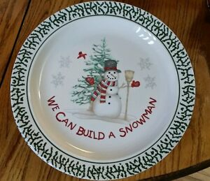 Image is loading Stoneware-We-Can-Build-A-Snowman-Dinner-plates- & Stoneware We Can Build A Snowman Dinner plates 10.25\