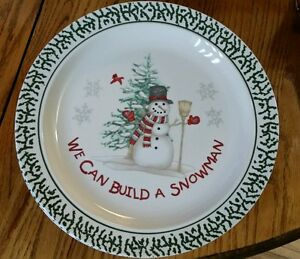 Image is loading Stoneware-We-Can-Build-A-Snowman-Dinner-plates- & Stoneware We Can Build A Snowman Dinner plates 10.25