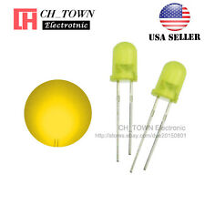 100pcs 5mm Diffused Yellow-Yellow Round Top LED F5 DIP Light Emitting Diodes USA