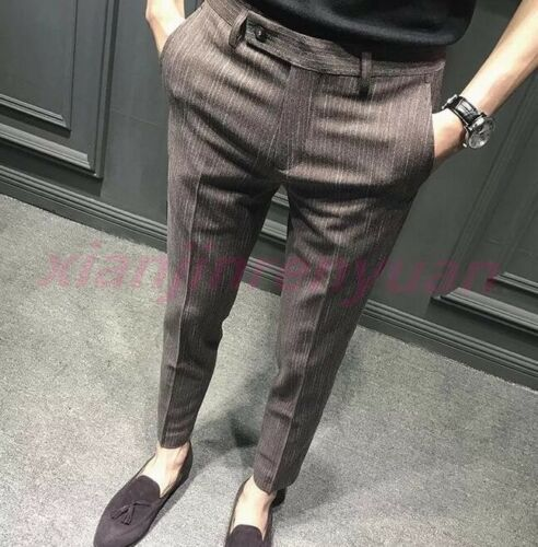 Chic Mens Formal Mid Rise Striped Cropped Pants Slim Fit Dress Casual Trousers