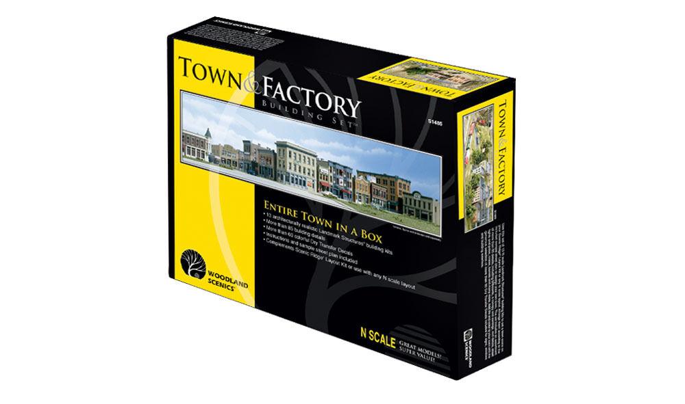 N Woodland Scenics 1485  Town & Kit conjunto de fábrica  Detalles de edificios y más