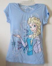 Womens Juniors S Disney Frozen Elsa Top Sleep Shirt T-Shirt Light Blue Tee EEUC